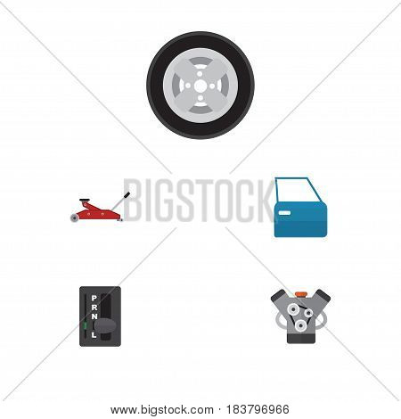 Flat Auto Set Of Automobile Part, Lifting, Automatic Transmission And Other Vector Objects. Also Includes Engine, Motor, Wheel Elements.