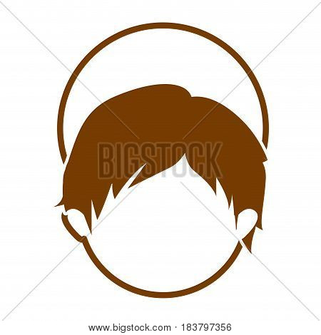 brown silhouette of faceless head of child jesus vector illustration