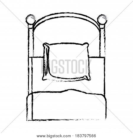 single bed pillow bedding sketch vector illustration