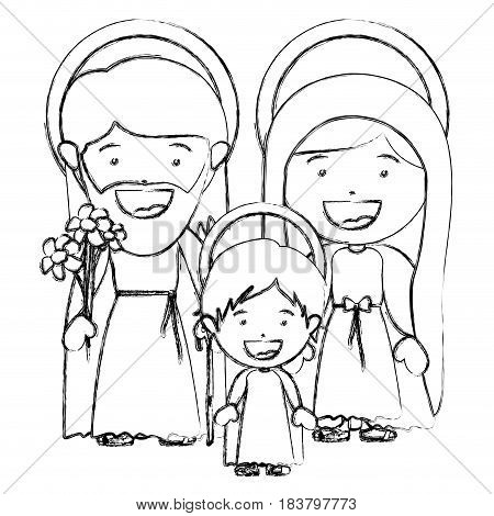 monochrome blurred silhouette of sacred family with baby jesus vector illustration
