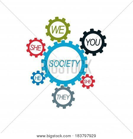 Social Relations conceptual logo unique vector symbol. Society and Person social interaction.