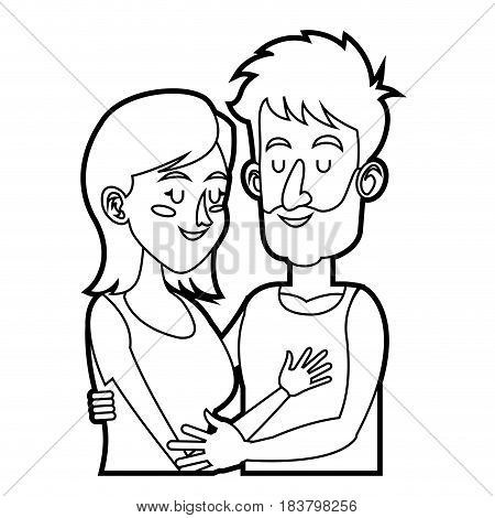 embracing couple relationship together sketch vector illustration
