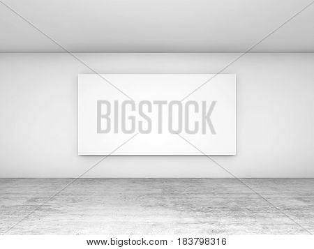Blank Banner On The Wall, Front View 3D