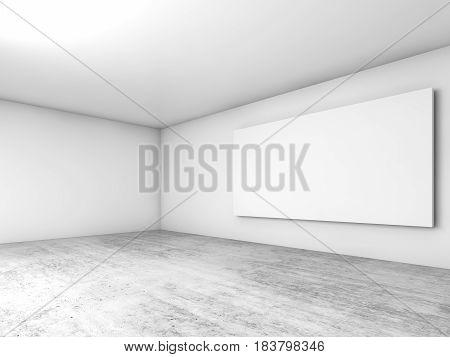3D White Interior Background, Blank Banner
