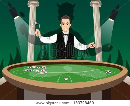 Croupier Behind Roulette Table. Casino Gambling. Vector illustration