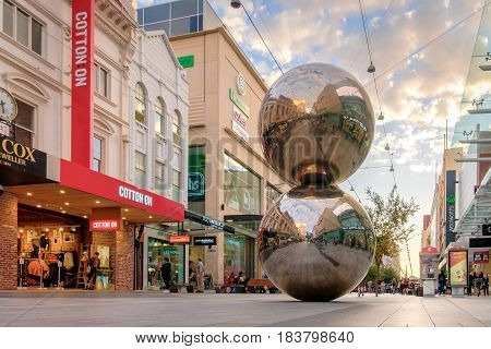 Adelaide Australia - April 05 2017: Rundle Mall and famous balls in Adelaide CBD at sunset. Rundle Mall attracts a lot of tourists severy year