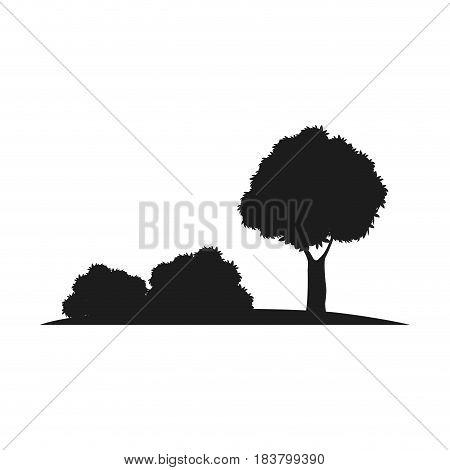 silhouette tree bush natural design image vector illustration