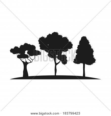 silhouette trees forest branch foliage botanic vector illustration