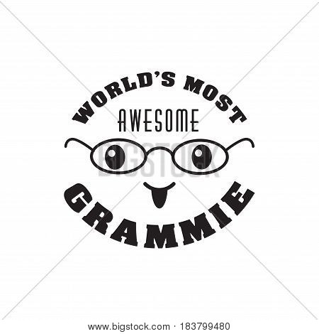 worlds most awesome grammie. handwritten in black brush ink lettering text, typographic design badges in calligraphy style, vector illustration on white background
