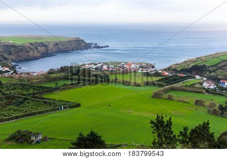 The city on the Atlantic coast of the island of Sao Miguel, the Azores, Portugal