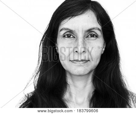 Woman photoshooting in studio close up photograph