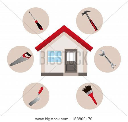 House and repair tools. Vector illustration. Trowel saw hammer wrench screwdriver and brush. Vector illustration.