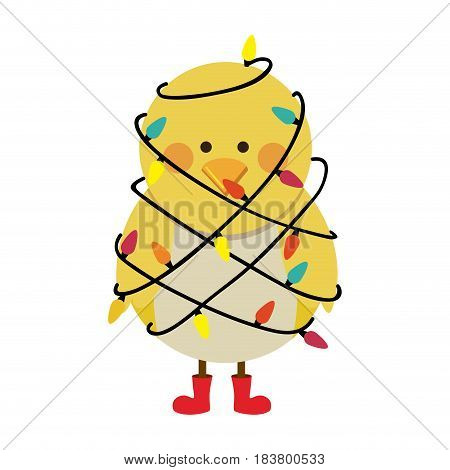 silhouette of chicken with boots and involved in cord lights christmas vector illustration