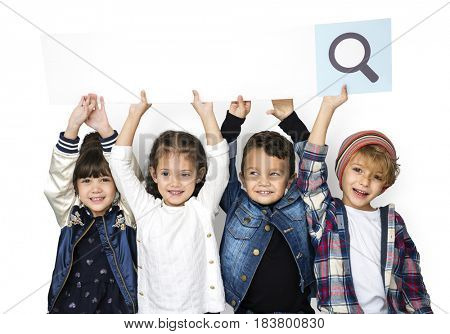 Happiness group of cute and adorable children with searching banner