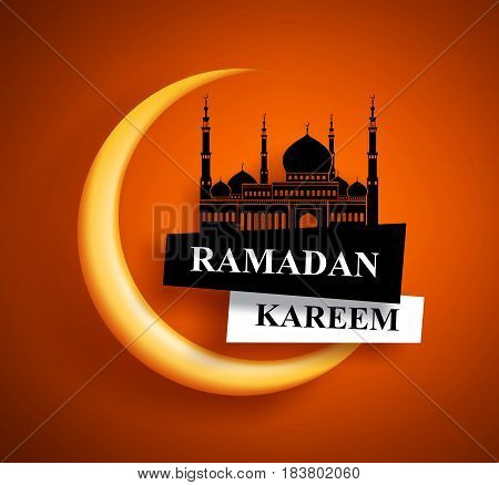 Ramadan kareem greeting vector design for muslims fasting with crescent moon and mosque in orange background. Vector illustration.