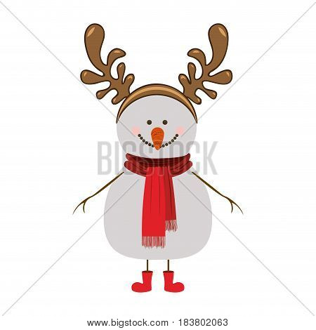 silhouette of snowman with red boots and scarf and horns of reindeer vector illustration