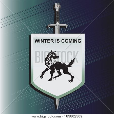 Wolf. The sword and shield. Sticker emblem. Vector image of arms medieval knight. Design logo, illustrations, book, textiles, print on fabric and paper.