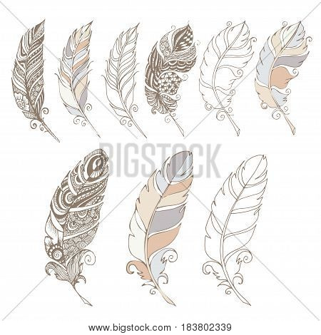 bird hand draw gray wiht set textile pastel