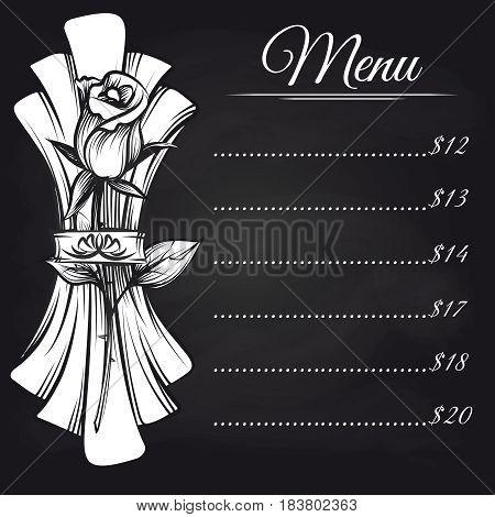 Chalkboard menu design with hand drawn napkin and rose. Vector illustration