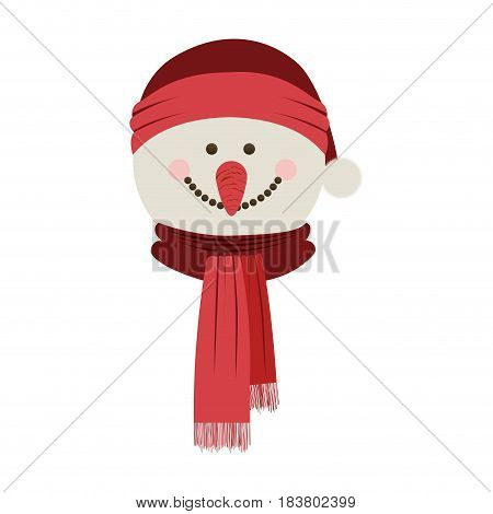 silhouette of snowman face with scarf and christmas hat vector illustration