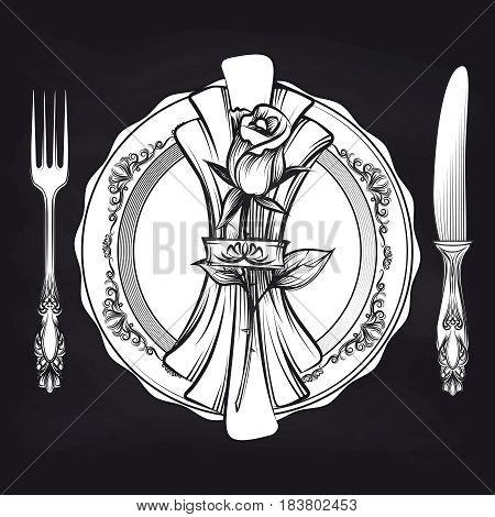 Elegance romantic table setting with plate, fork, knife, napkin, rose on blackboard. Vector illustration
