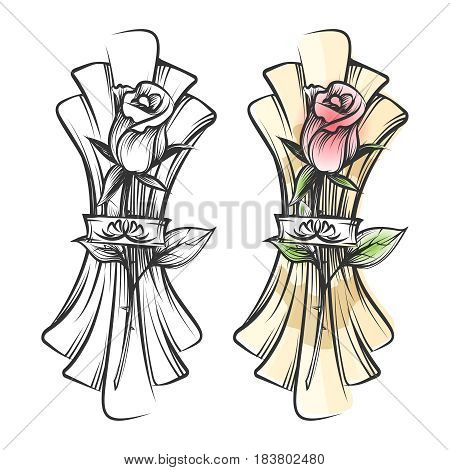 Hand drawn rose and napkin. Vector black and white sketch and colorful table setting
