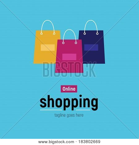 Web banner Online Shopping with shopping bag. Vector illustation