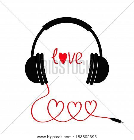 Headphones and red cord in shape of three hearts. Word love. Flat design icon. White background Isolated Vector illustration