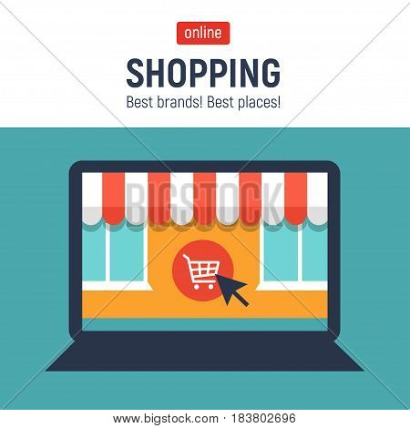 Banner with laptop. Page with online store open on laptop screen. Concept online shopping.