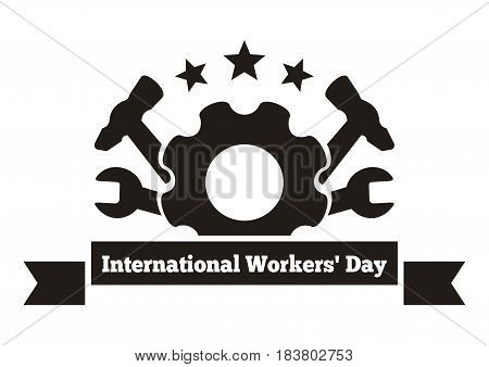 International Workers Day. Labor Day logo. May Day. Workers Day greeting card. Vector illustration isolated on white background