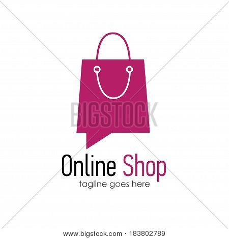 Online shop logo design template . Web banner Online Shop with shopping bag. Vector illustation