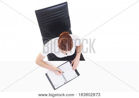 Overhead view of a young, confident businesswoman with organizer. Business, job, occupation, concept.