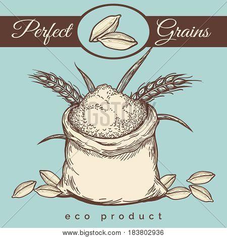 Hand drawn whole bag of wheat flour. Vector premium mill product vintage emblem