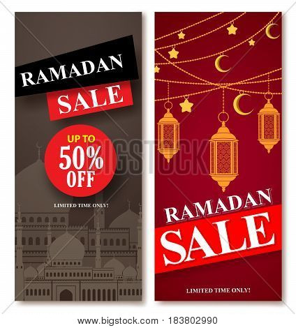 Ramadan sale vector web poster designs set with mosque and lantern elements in background for shopping discount promotion. Vector illustration.