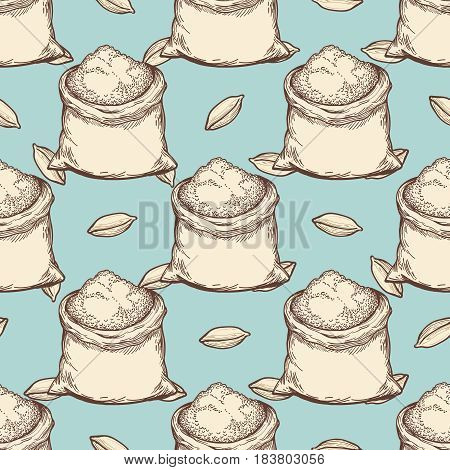 Vintage wheat flour whole bags and grains seamless pattern. Vector illustration