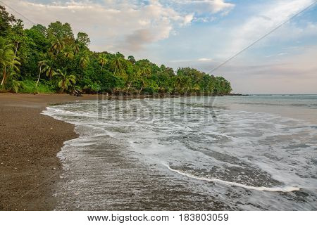 Pacific ocean in Corcovado National Park beach and forest, Osa Peninsula, Costa Rica