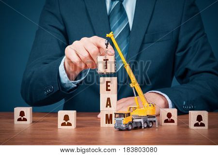 Human resources build team hire and recruitment concepts. Recruiter complete team.
