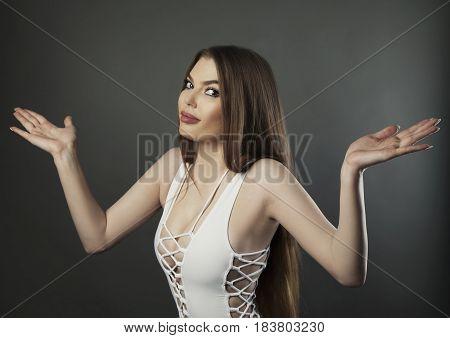Woman Studio Hand Emotion Photo On Dark Bg
