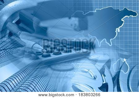 Financial background in blues with money calculator table map and pen.