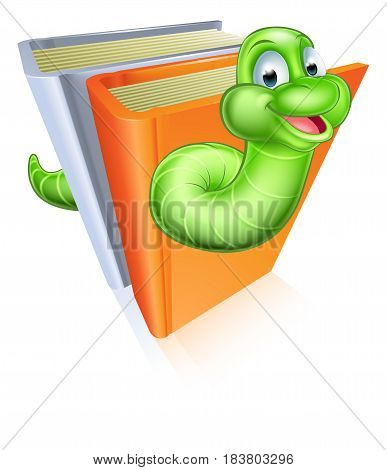 A cartoon bookworm concept of a book worm character eating through some books