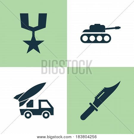 Battle Icons Set. Collection Of Order, Ordnance, Cutter And Other Elements. Also Includes Symbols Such As Ordnance, Tank, Mechanism.
