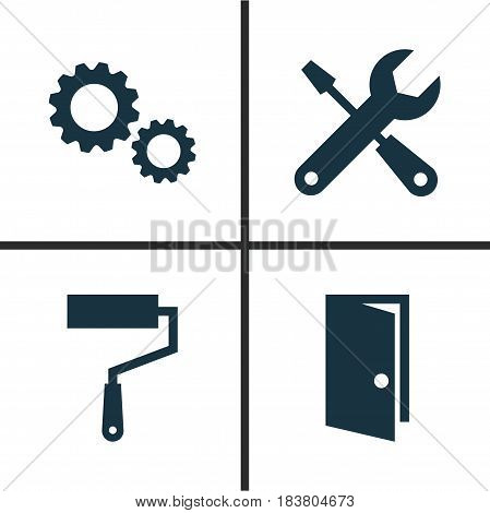 Architecture Icons Set. Collection Of Paint Roller, Service, Cogwheel And Other Elements. Also Includes Symbols Such As Exit, Entrance, Repair.