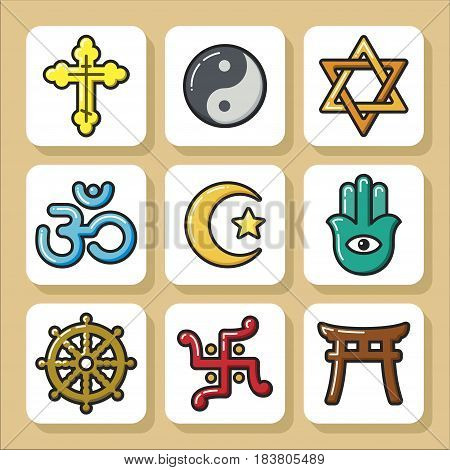 Set of religious icons. Vector Isolated flat colorful illustration.
