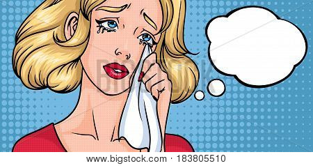 Crying woman face. Sad girl, horizontal background with place for text. Empty blank speech bubble. Colorful comics vector illustration in pop art style