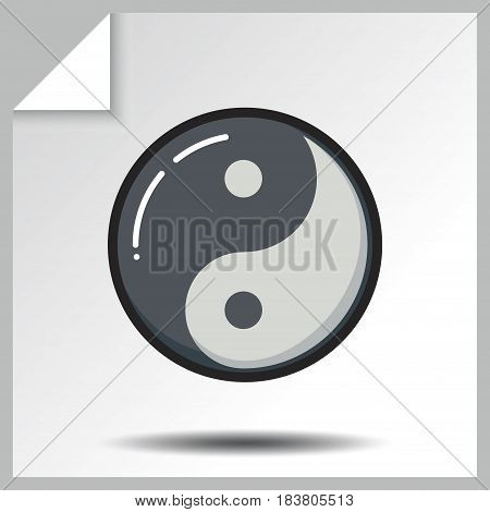 Taoism yin yang icon. Vector Isolated flat colorful illustration.