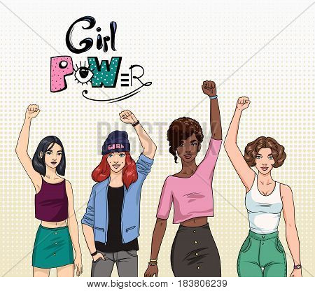 Girl power, Feminism concept. Different young modern girls with hands up. Colorful illustration
