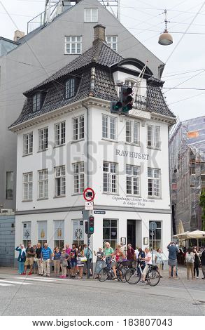 COPENHAGEN DENMARK - JULY 31 2016: Typical building in the old city center of Copenhagen the capital of Denmark