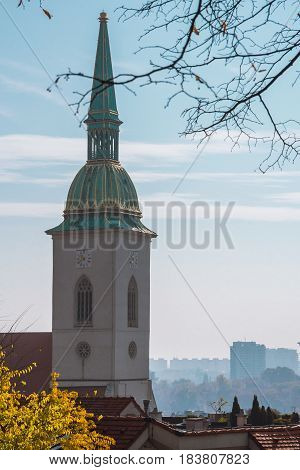 St. Martin's Cathedral, Bratislava, As Seen From The Hills Around Bratislava Castle On A Misty Autum