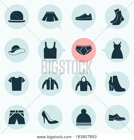 Clothes Icons Set. Collection Of Elegance, Sneakers, Half-Hose And Other Elements. Also Includes Symbols Such As Headgear, Sundress, Shirt.