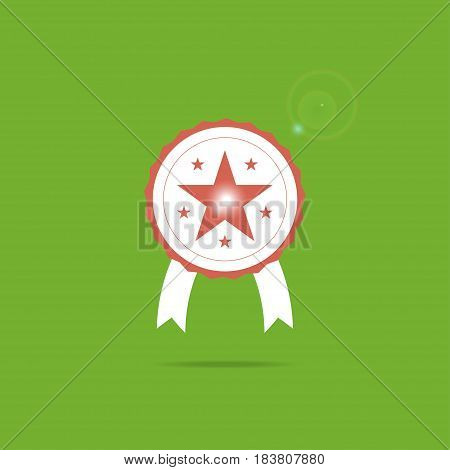 Award icon symbol with star inside and sparkle. Vector illustration